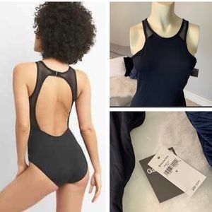 Gap Fit mesh cutaway one piece swimsuit black
